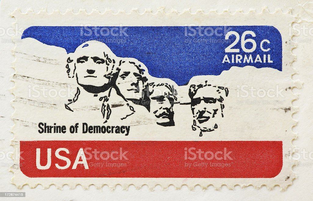 Post stamp of four presidents royalty-free stock photo