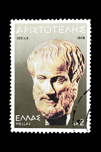 Post stamp with Aristotle stock photo