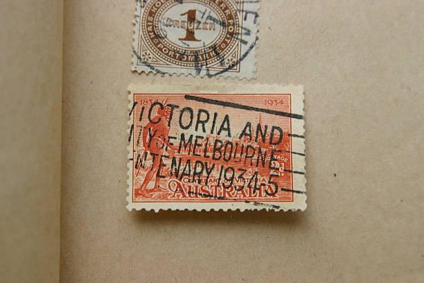 Pubblicare i francobolli di Australia 1934 - foto stock