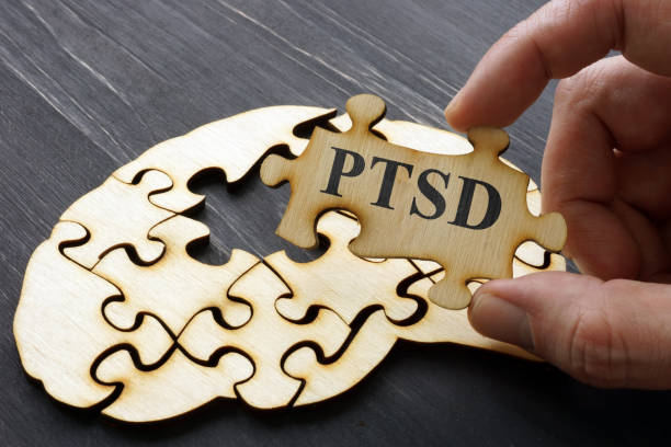 PTSD Post Traumatic Stress written on the puzzle. PTSD Post Traumatic Stress written on the puzzle. post traumatic stress disorder stock pictures, royalty-free photos & images