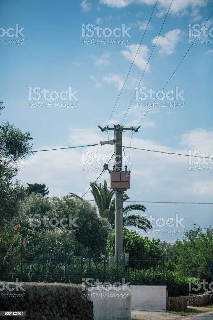 Post with wires in italy royalty-free stock photo