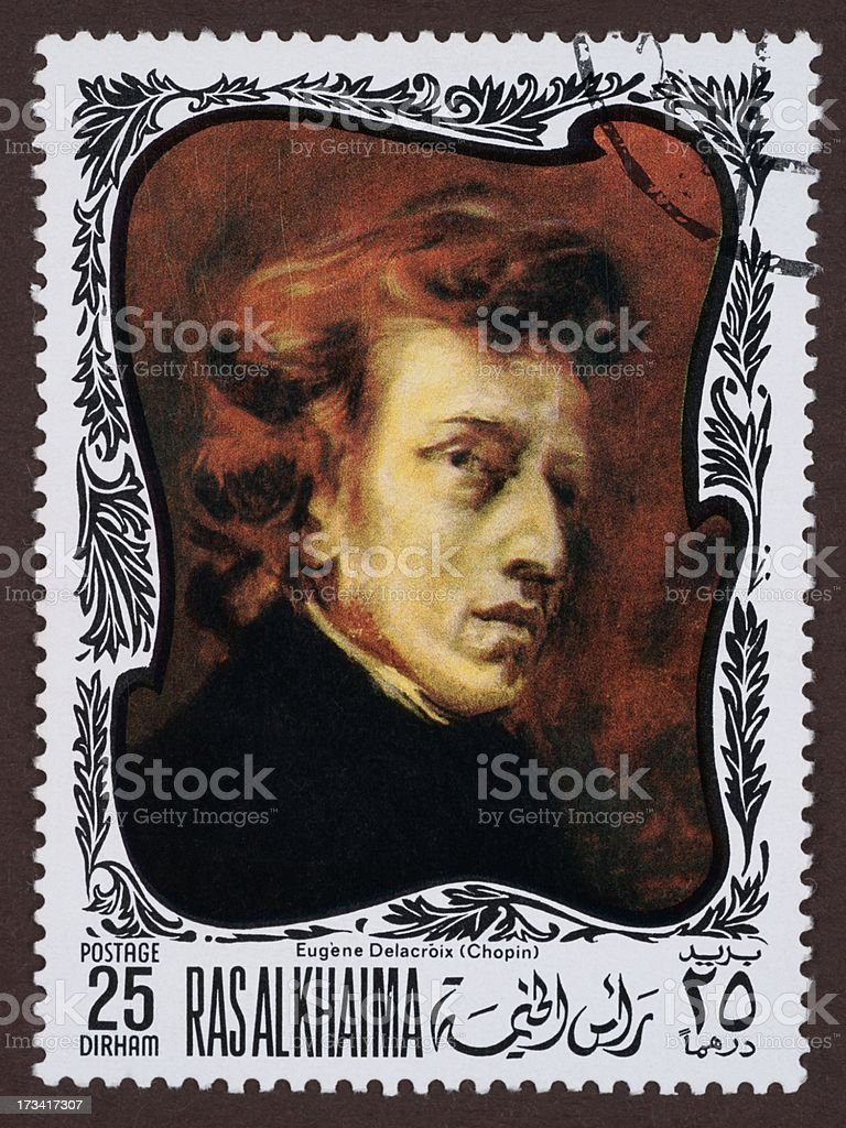 Postage stamp, a painting by Eugène Delacroix, Chopin stock photo