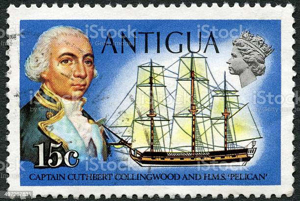 Postage stamp Antigua 1970 shows Cuthbert Collingwood and Pelican