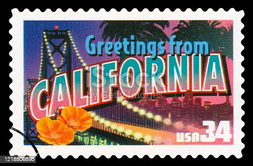 US Postage Stamp - California State Greetings From America /Isolated on black - High quality on details /