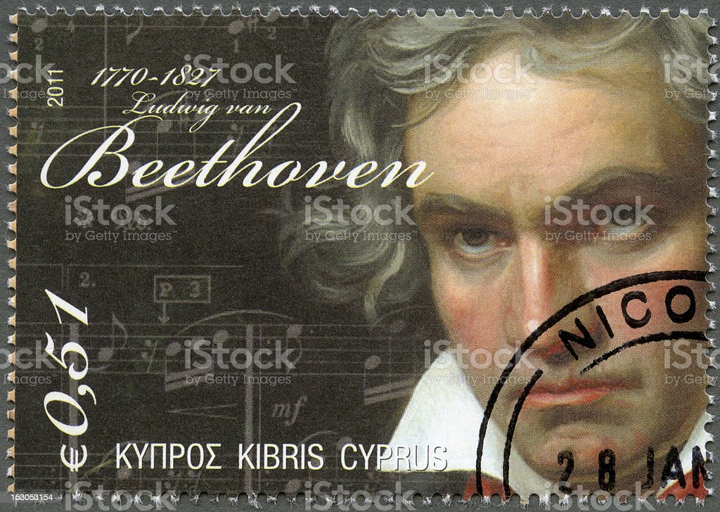Postage stamp Cyprus 2011 Ludwig van Beethoven (1770-1827) stock photo