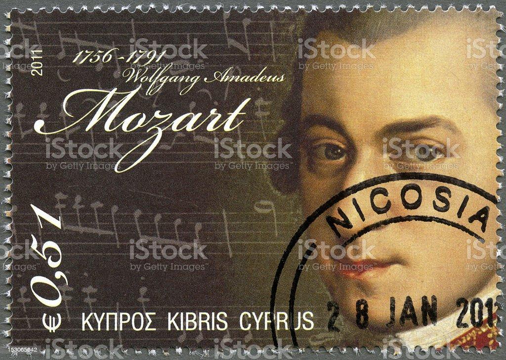 Postage stamp Cyprus 2011 Wolfgang Amadeus Mozart (1756-1791) stock photo