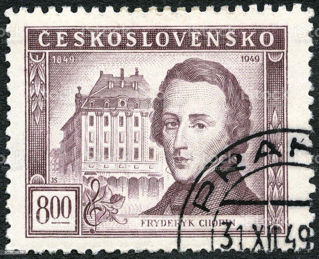 Postage stamp Czechoslovakia 1949 shows Frederic Chopin (1810-1849) stock photo