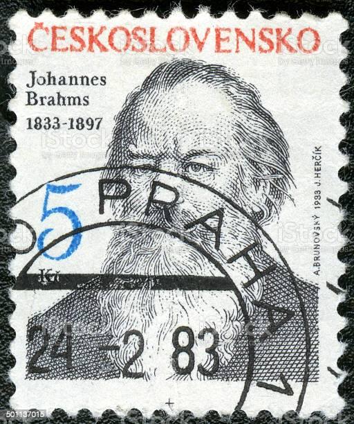 Postage stamp Czechoslovakia 1983 printed in Johannes Brahms