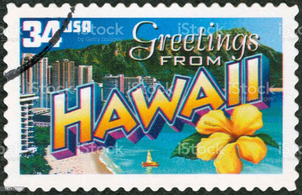 Postage Stamp Depicting A Beach Town In Hawaii