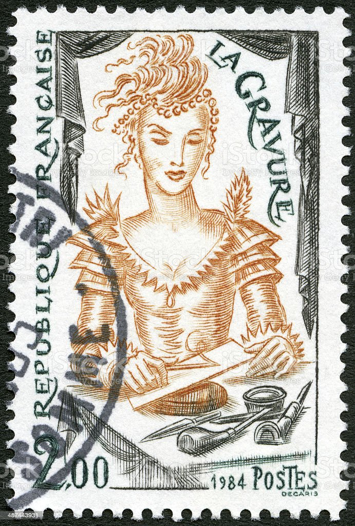 Postage stamp France 1984 shows Engraving stock photo