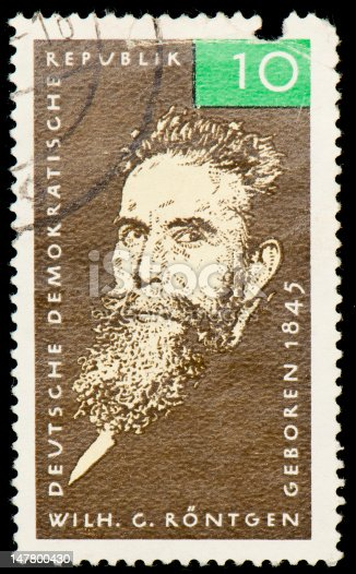 Postage stamp from German Democratic Republic dedicated to Wilhelm Conrad Röntgen, a German physicist, who, on 8 November 1895, produced and detected electromagnetic radiation in a wavelength range today known as X-rays or Röntgen rays, an achievement that earned him the first Nobel Prize in Physics in 1901.