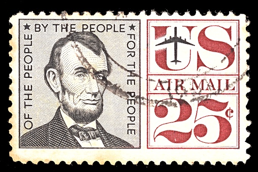 ISRAEL -June 2019: Postage stamp from USA. Airmail. With portret of President Abraham Lincoln 25 cent. circa 1959
