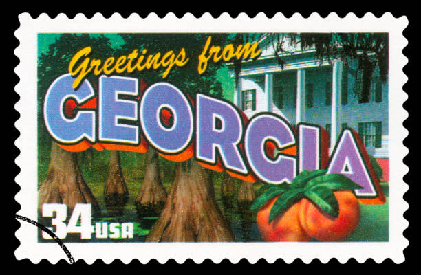 US Postage Stamp - Georgia State stock photo