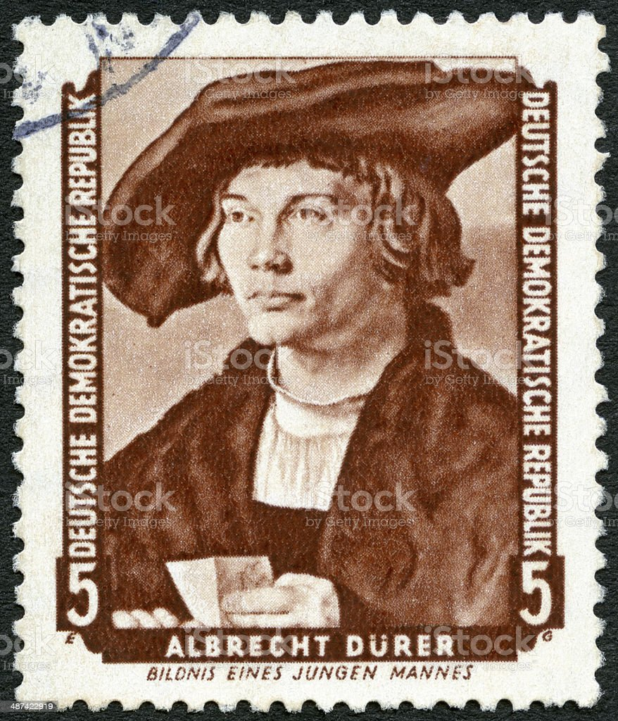 Postage stamp Germany 1955 portrait of young man, Albrecht Durer stock photo