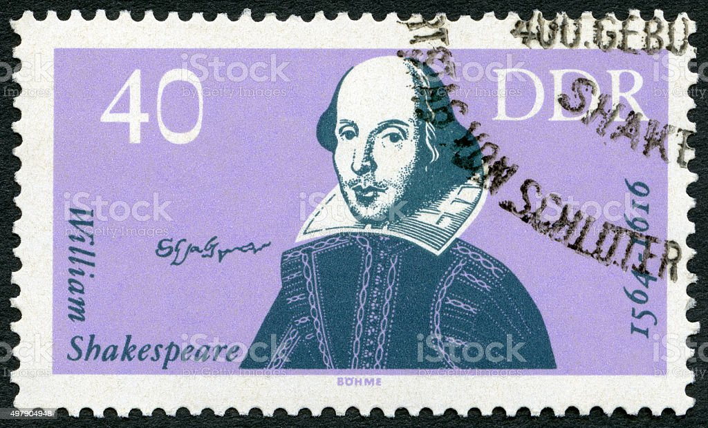 Postage stamp Germany 1964 shows William Shakespeare (1564-1616) stock photo