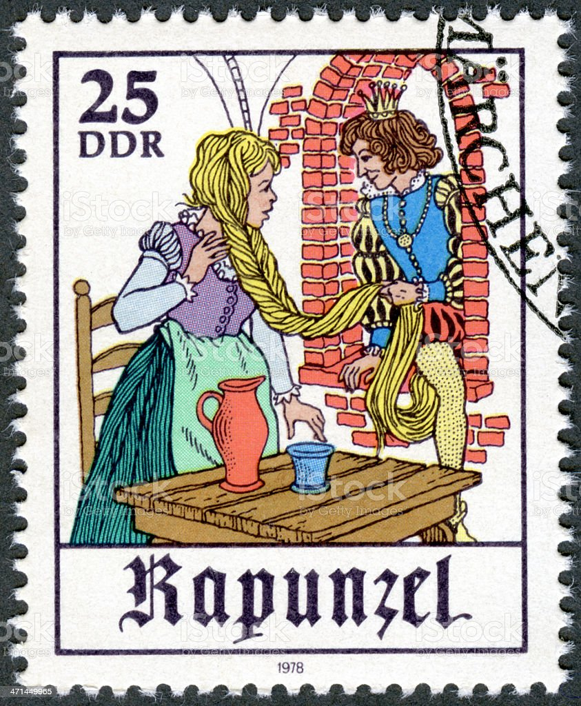 Postage stamp Germany 1978 Scene from fairy tale 'Rapunzel' stock photo