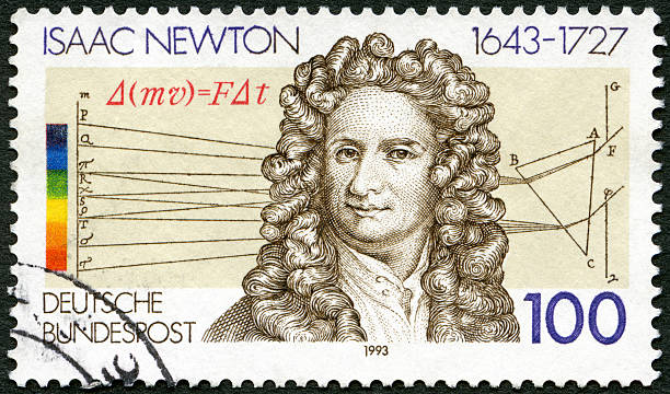 Postage stamp Germany 1993 Sir Isaac Newton 1642-1727, scientist stock photo