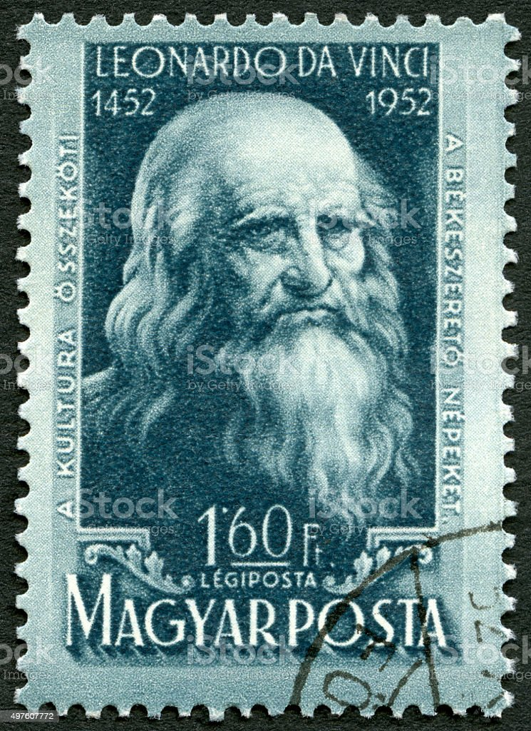 Postage stamp Hungary 1952 shows Leonardo da Vinci stock photo