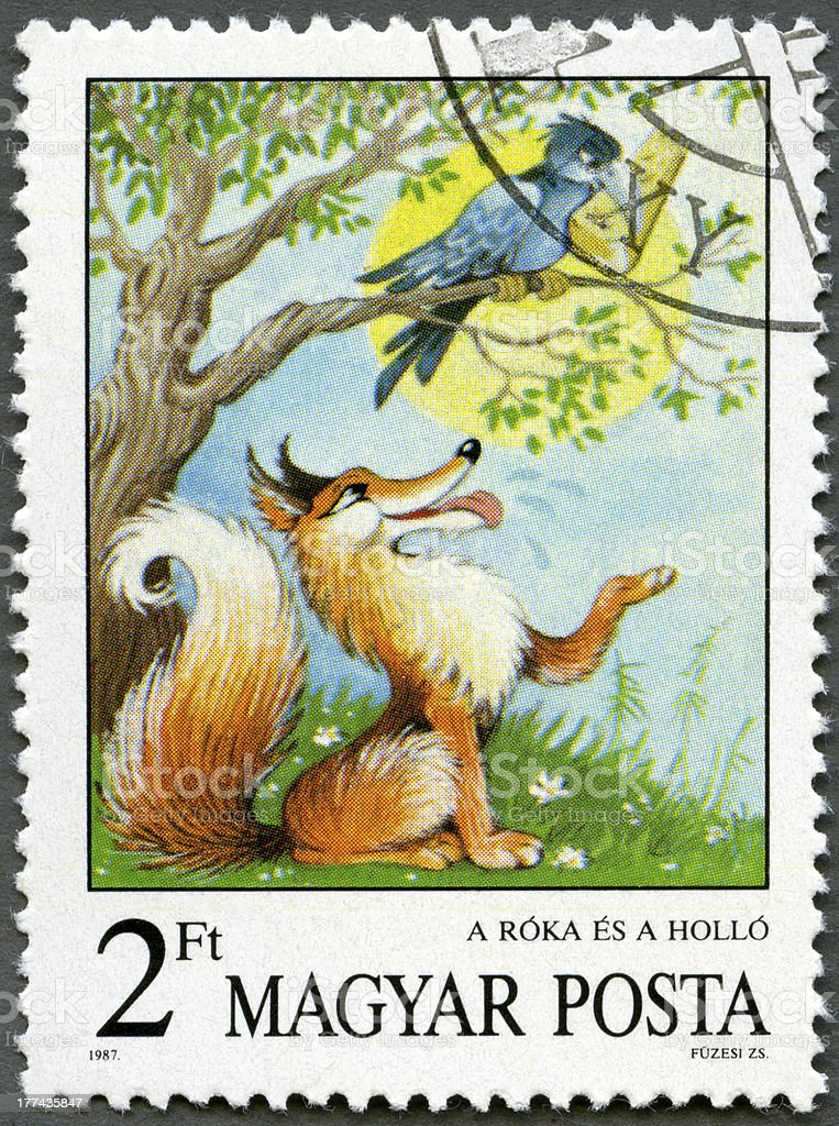 Postage stamp Hungary 1987 Fox and Crow, Aesop's Fables stock photo
