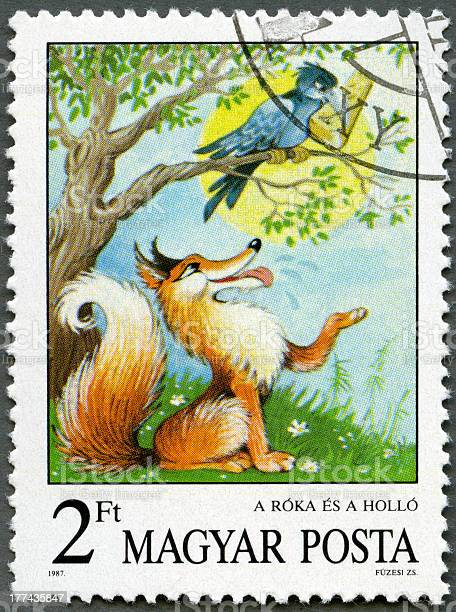 Postage stamp Hungary 1987 Fox and Crow, Aesop's Fables