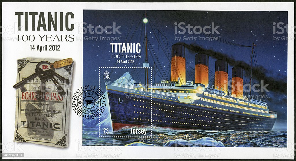 Postage stamp Jersey 2012 shows Titanic 100 years stock photo