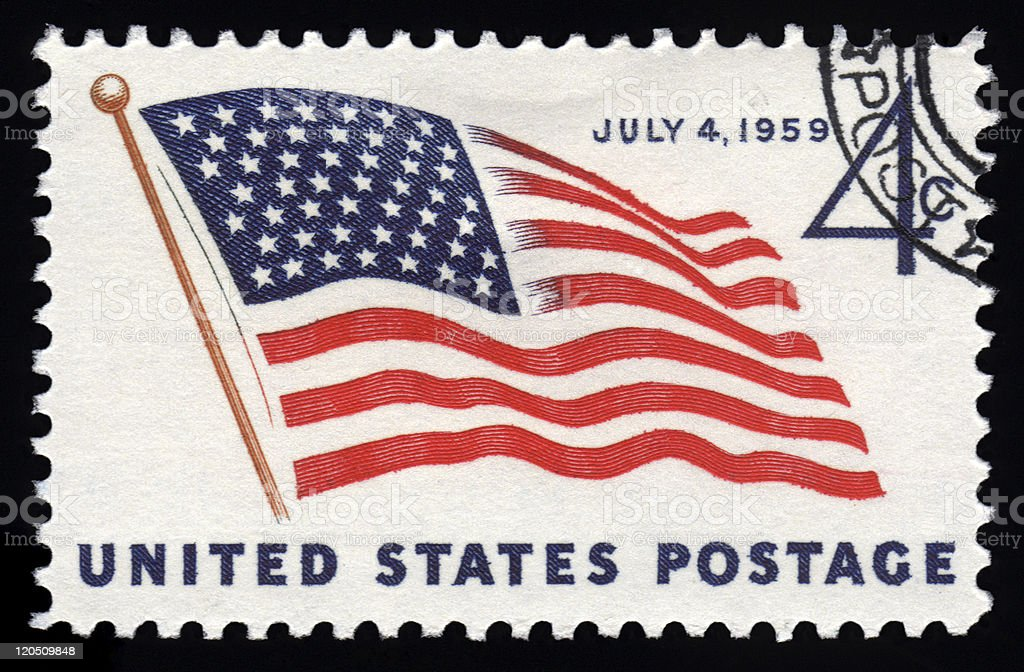 USA postage stamp July 4th stock photo