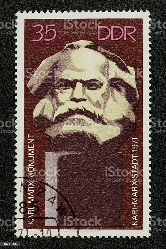 Postage stamp Karl Marx German Democratic Republic stock photo