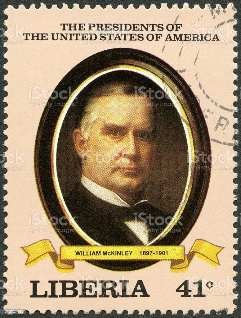 Postage stamp Liberia 1982 shows President William McKinley (1897-1901) stock photo