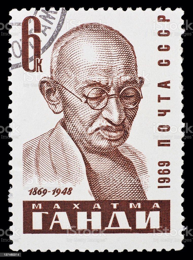 USSR postage stamp: Mahatma Gandhi royalty-free stock photo