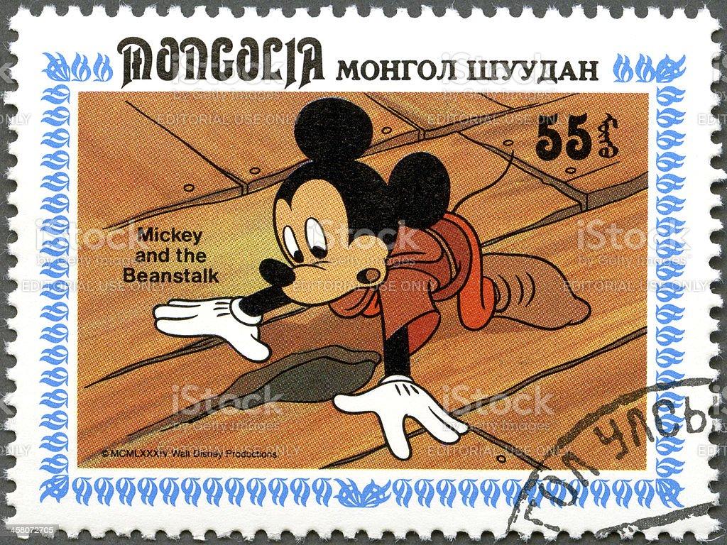Postage stamp Mongolia 1984 Walt Disney's Mickey and Beanstalk stock photo