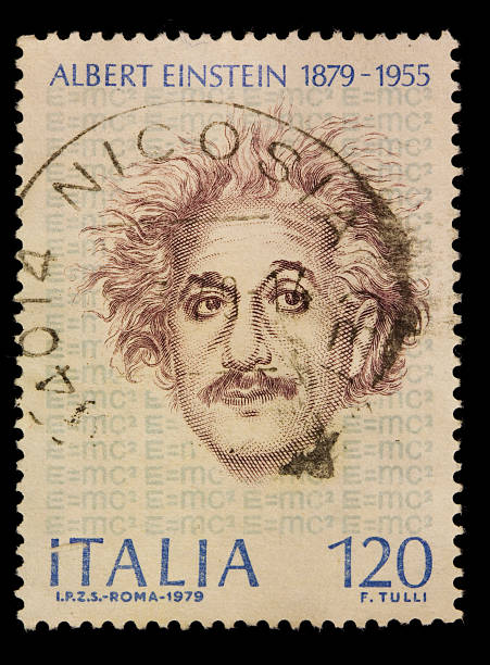 briefmarke von albert einstein-italien - berühmte physiker stock-fotos und bilder