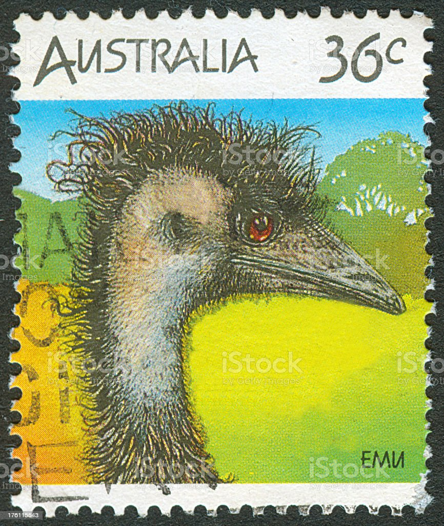 Postage stamp of Australian Emu royalty-free stock photo