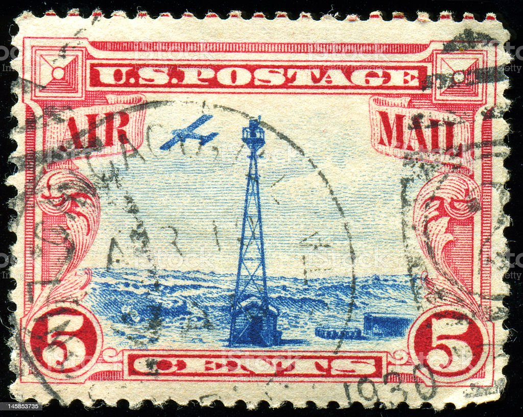 Postage Stamp: Old Worn US Airmail royalty-free stock photo