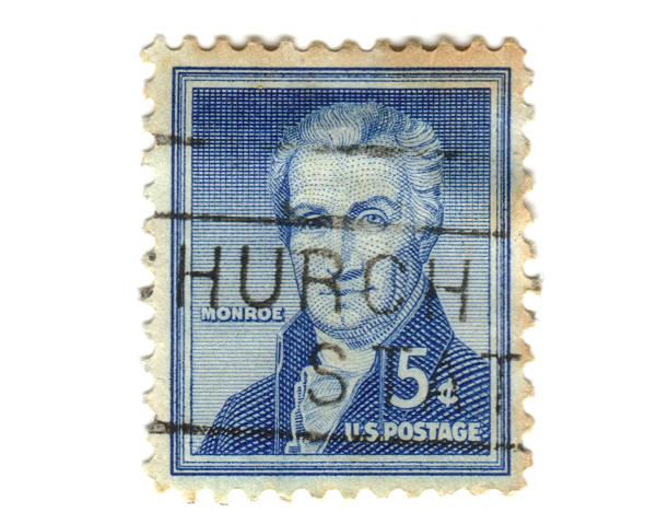 US-Briefmarke auf weißem Hintergrund – Foto