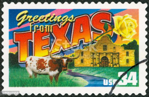 Postage Stamp - Greetings from Texas
