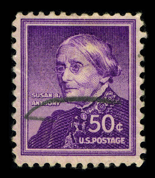 """Postage stamp. """"Gomel, Belarus - March 26, 2011: Postage stamp. A stamp printed in USA shows image of the Susan Brownell Anthony (February 15, 1820 - March 13, 1906) was a prominent American civil rights leader who played a pivotal role in the 19th century women's rights movement to introduce women's suffrage into the USA, circa 1940."""" women's suffrage stock pictures, royalty-free photos & images"""
