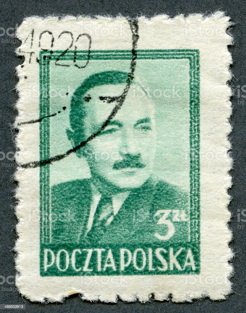 Postage stamp Poland 1948 shows President Boleslaw Bierut 1892 stock photo