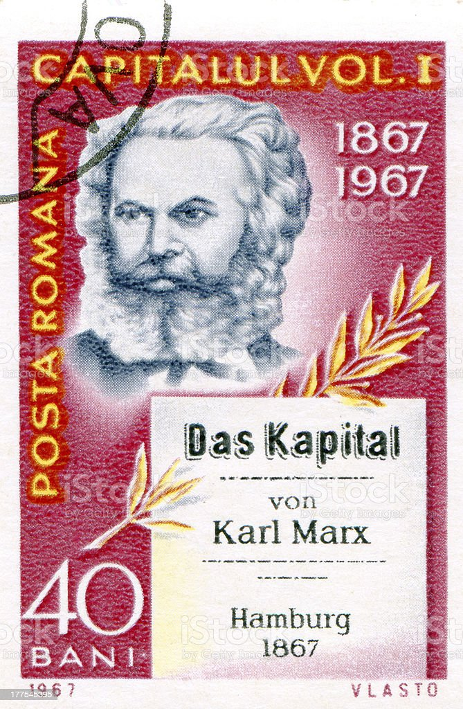 Postage stamp printed in Romania  of Karl Marx royalty-free stock photo