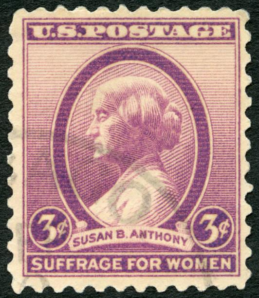 frimärke tryckt i usa visar porträtt susan brownell anthony (1820-1906) i 1936 - celebrities of age bildbanksfoton och bilder