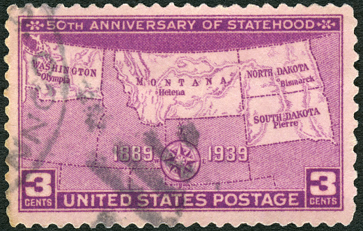 Postage stamp printed in USA shows Map, 50th Anniversary of Statehood Issue, 1939