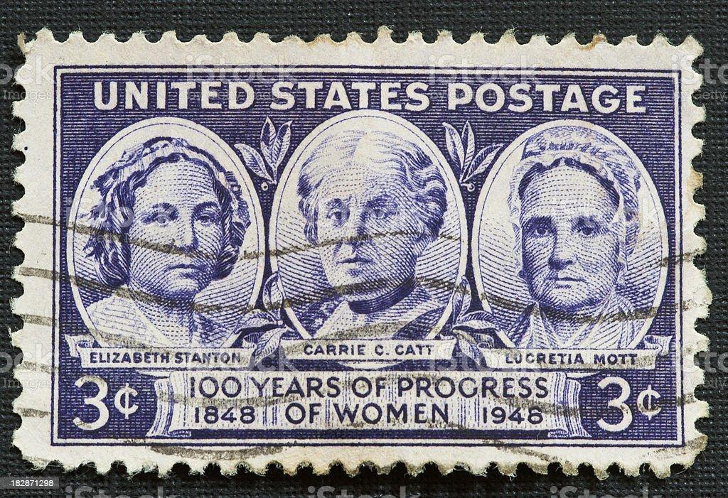 Postage Stamp Progress of Women stock photo