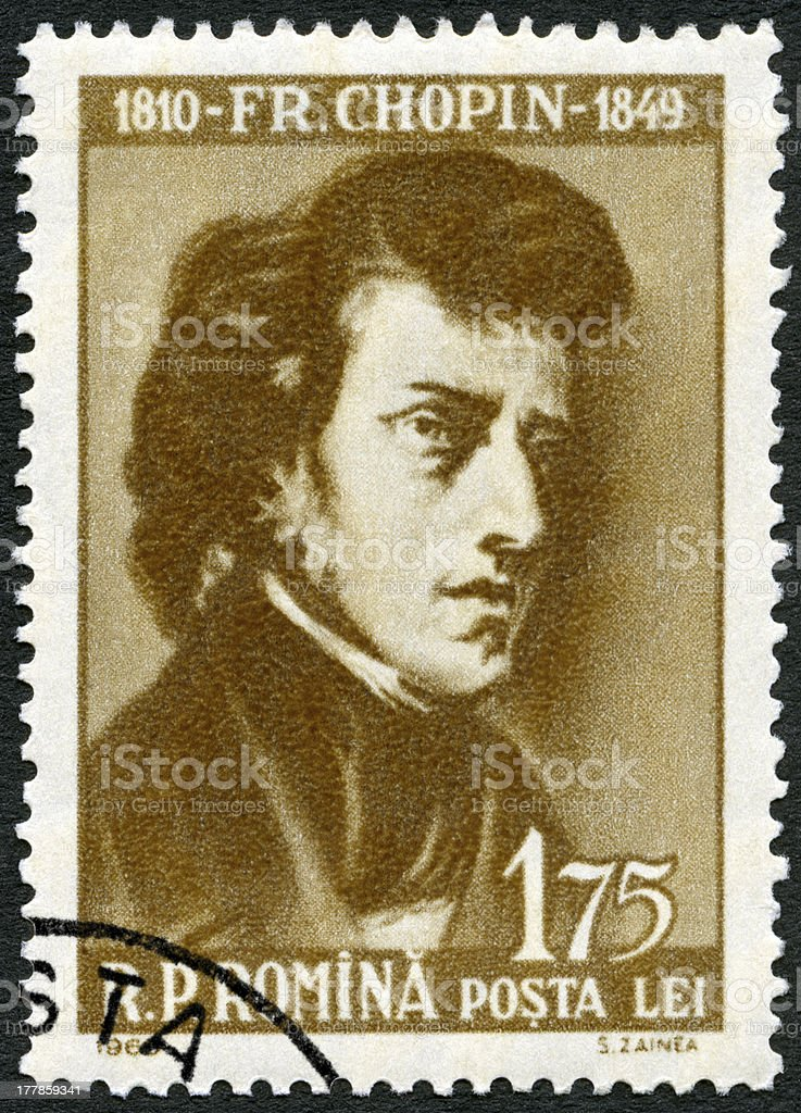 Postage stamp Romania 1960 shows Frederic Chopin (1810-1849) stock photo