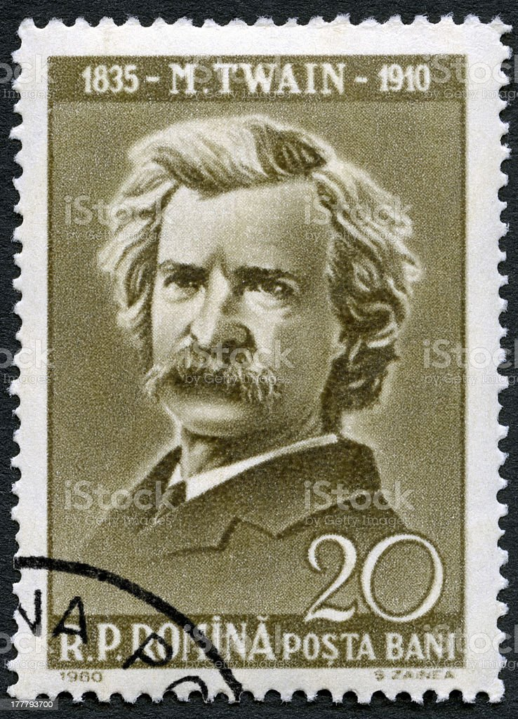 Postage stamp Romania 1960 shows Mark Twain (1835-1910) stock photo