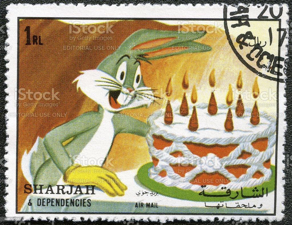 Postage stamp Sharjah & Dependencies 1972 Bugs Bunny Warner Brothers stock photo