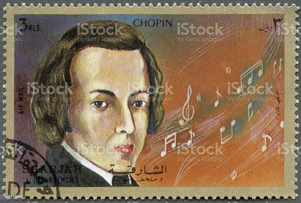 Postage stamp Shiarjah & Dependencies 1972 shows Frederic Chopin (1810-1849) stock photo