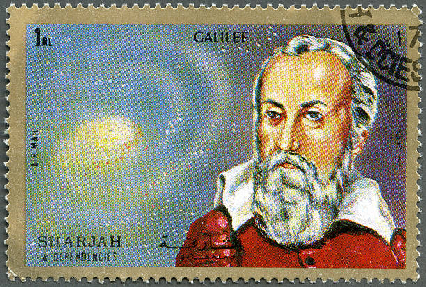 Postage stamp Shiarjah & Dependencies 1972 shows Galileo Galilei (1564-1642) Postage stamp printed in Shiarjah & Dependencies shows Galileo Galilei (1564-1642), circa 1972 galileo galilei stock pictures, royalty-free photos & images