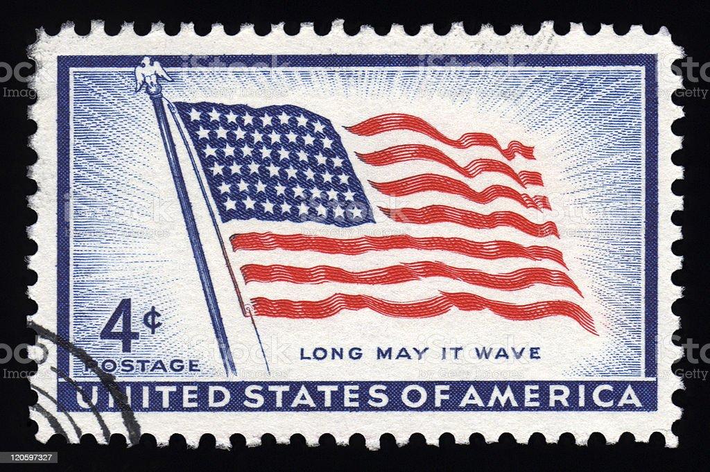 USA Postage Stamp Stars & Stripes stock photo