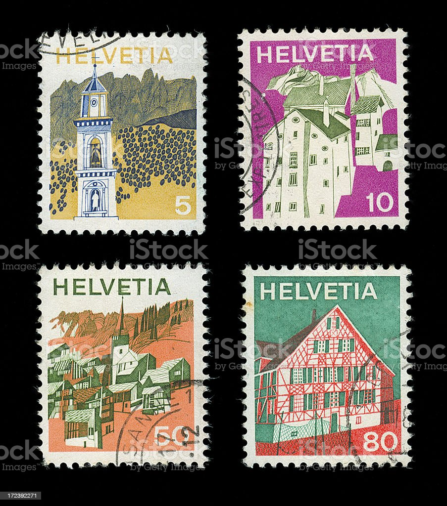 Postage Stamp Swiss royalty-free stock photo
