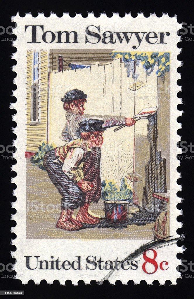 USA postage stamp Tom Sawyer stock photo