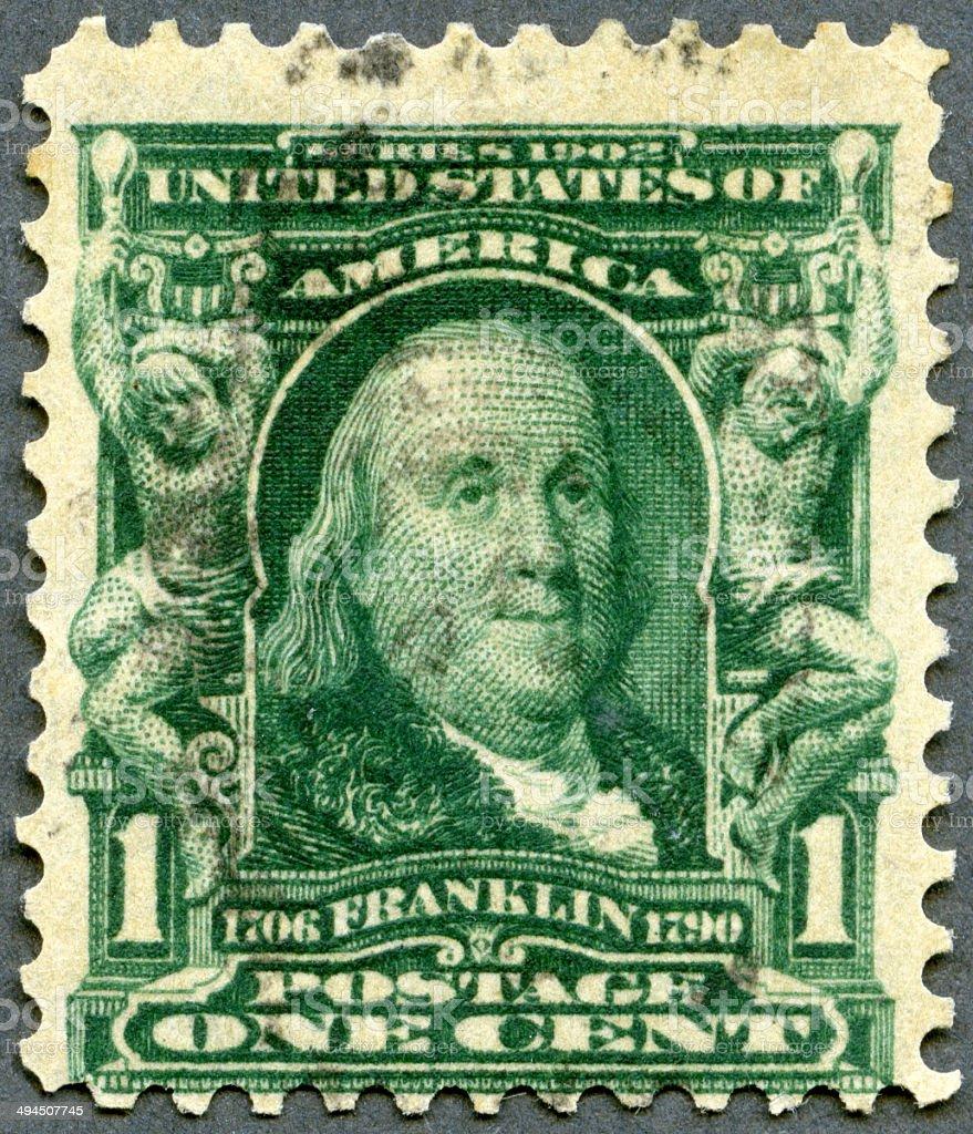 Postage stamp USA 1903 shows portrait of Benjamin Franklin 1706-1790 stock photo